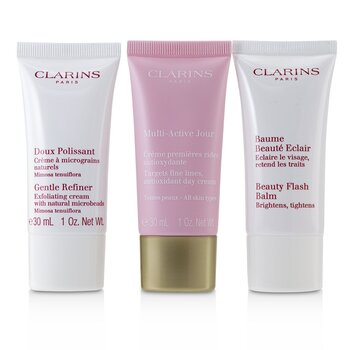 Multi-Active 30+ Anti-Ageing Skincare Set: Gentle Refiner 30ml + Multi-Active Day Cream 30ml + Beauty Flash Balm 30ml (3pcs)