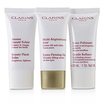 Extra-Firming 40+ Anti-Ageing Skincare Set:Gentle Refiner 30ml +Extra-Firming Day Cream 30ml+ Beauty Flash Balm 30ml (3pcs)