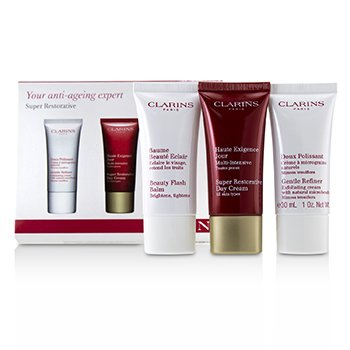 Super Restorative 50+ Anti-Ageing Skincare Set: Gentle Refiner 30ml+Super Restorative Day Cream 30ml+Beauty Flash Balm 30ml (3pcs)