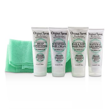 Deluxe Travel Kit: 1x Hair & Body Wash +1x Shampoo 30ml+ 1x Conditioner +1x Baby Cream +1x Washcloth (For Babies & Up (5pcs)