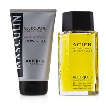 Masculin Coffret: Acier Eau De Toilette Spray 100ml+Hair & Body Shower Gel 150ml/5oz (2pcs)
