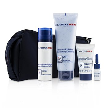Men Everyday Heroes Set: 1x Exfoliating Cleanser 125ml + 1x Super Moisture Balm 50ml + Shampoo & Shower 30ml + Shave Ease 3ml (4pcs)
