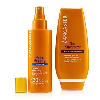 Your Suncare Routine For A Legendary Goldan Tan Set: Oil-Free Milky Spray SPF 30 150ml + Tan Maximizer After Sun 125ml (2pcs)