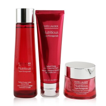 Nutritious Super-Pomegranate Overnight Radiance Collection: Cleansing Foam 125ml+Lotion Intense Moist 200ml+Night Creme 50ml (3pcs)