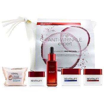 Revitalift Set: Fine Flowers Cleansing Wipes + Snoothing Serum 30ml+ Eye Cream 15ml +Day Cream 50ml + Night Cream 50ml (5pcs+1bag)