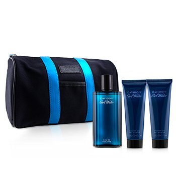 Cool Water Coffret: EDT Spray 125ml + After Shave Balm 75ml + Shower Gel 75ml +Toilet Bag (3pcs+Bag)