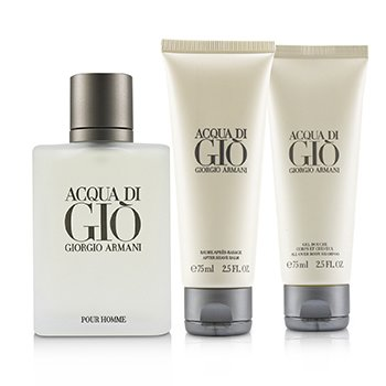 Acqua Di Gio Coffret: Eau De Toilette Spray 100ml/3.4oz + All Over Bod Shampoo 75ml/2.5oz + After Shave Balm 75ml/2.5oz (3pcs)