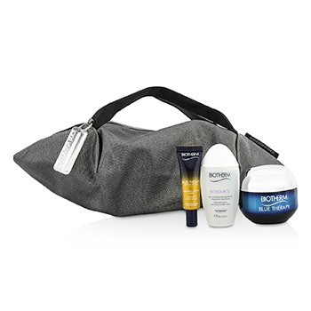 Blue Therapy X Mandarina Duck Coffret: Cream SPF15 N/C 50ml + Serum-In-Oil 10ml + Cleansing Water 30ml + Handle Bag (Box Slightly Damaged) (3pcs+1bag)