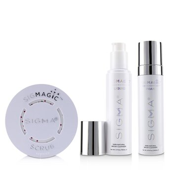 Brush Cleanser Trio (1x Sigmagic Scrub, 1x Brushampoo Liquid, 1x Brushampoo Foam) (3pcs)