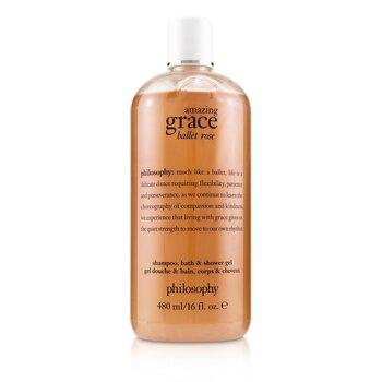 Amazing Grace Ballet Rose Shampoo, Bath & Shower Gel (480ml/16oz)