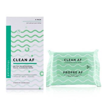 Clean AF On-The-Go Refreshing Facial Cleansing Wipes (4x15sheets)