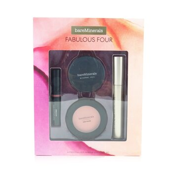 Fabulous Four Full Size Makeup Essentials Set (1x Mineral Veil Finishing Powder, 1x Blush, 1x Lipstick, 1x Mascara) (4pcs)