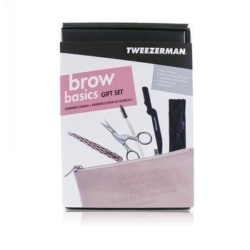 Brow Basics Gift Set (Slant Tweezer, Brow Scissors & Brush, Precision Folding Razor, Headband) (4pcs+1bag)