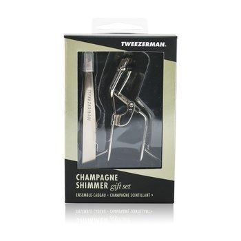 Champagne Shimmer Gift Set (Slant Tweezer & Curl 38? Lash Curler) (2pcs)