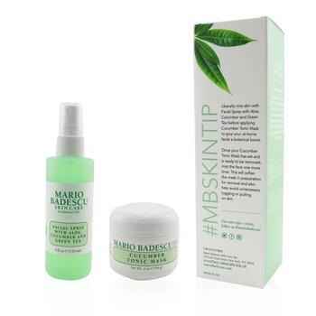 Cucumber Mask & Mist Duo Set: Facial Spray With Aloe, Cucumber And Green Tea 4oz + Cucumber Tonic Mask 2oz (2pcs)