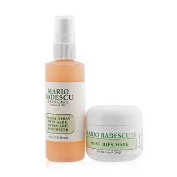 Rose Mask & Mist Duo Set: Facial Spray With Aloe, Herbs And Rosewater 4oz + Rose Hips Mask 2oz (2pcs)