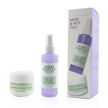 Lavender Mask & Mist Duo Set: Flower & Tonic Mask 2 oz + Facial Spray With Aloe, Chamomile And Lavender 4oz (2pcs)