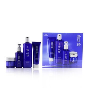 Sekkisei Best Selection Set: Medicated Sekkisei 360ml + Sekkisei Emulsion 140ml + Washing Foam 130g + Herbal Gel 80g (4pcs)