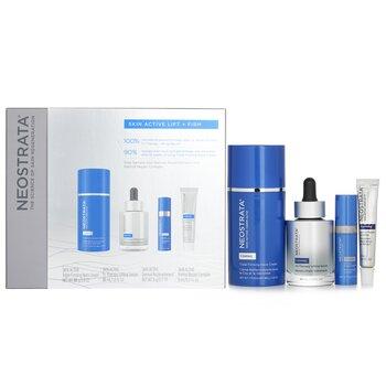 Skin Active Lift + Firm Kit: Neck Cream + Serum + Dermal Replenishment + Retinol Repair Complex (4pcs)