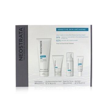 Sensitive Skin Antiaging Kit: Restore Cleanser, Restore Face Cream, Restore Face Serum, Restore Eye Cream (4pcs)