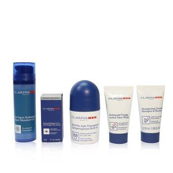 Men Grooming Essentials For Men Travel Exclusive Kit: Moisture Gel 50ml + Face Wash 30ml + Eye Serum 3ml + Antiperspirant Roll-On 50ml + Shampoo & Shower 30ml (5pcs+1bag)