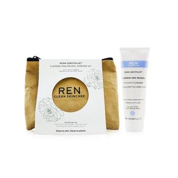 Rosa Centifolia Cleanse & Reveal Starter Kit: Hot Cloth Cleanser 100ml + 100% Unbleached Cotton Cloths 2pcs (3pcs)
