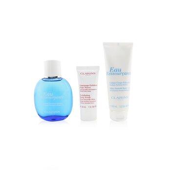 Eau Ressourcante Coffret: Fragrance Spray 100ml/3.3oz + Silky-Smooth Body Cream 100ml/3.2oz + Exfoliating Body Scrub For Smooth Skin 30ml/1oz + Pouch (3pcs+Pouch)