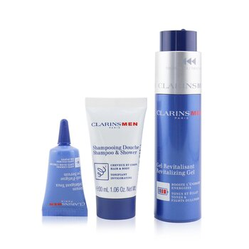 Men Revitalizing Collection: Revitalizing Gel 50ml + Shampoo & Shower 30ml + Anti-Fatigue Eye Serum 3ml + Pouch (3pcs+1pouch)