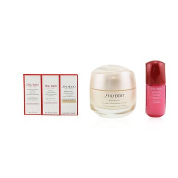 Anti-Wrinkle Ritual Benefiance Wrinkle Smoothing Cream Set (For All Skin Types): Wrinkle Smoothing Cream 50ml + Cleansing Foam 5ml + Softener Enriched 7ml + Ultimune Concentrate 10ml + Wrinkle Smoothing Eye Cream 2ml (5pcs+1pouch)