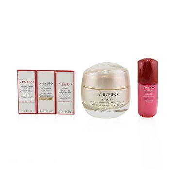 Anti-Wrinkle Ritual Benefiance Wrinkle Smoothing Cream Enriched Set (For Dry Skin): Wrinkle Smoothing Cream Enriched 50ml + Cleansing Foam 5ml + Softener Enriched 7ml + Ultimune Concentrate 10ml + Wrinkle Smoothing Eye Cream 2ml (5pcs+1pouch)