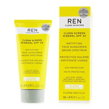 Clean Essentials Clean Sreen Mineral SPF 30 Mattifying Face Sunscreen Broad Spectrum (High Protection) (50ml/1.7oz)