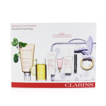 Maternity Set: Stretch Mark Expert+ Tonic Treatment Oil+ Body Scrub+ Beauty Flash Balm+ Multi-Active Yeux+ Mascara+ Bag (6pcs)
