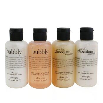 Sweetest Party Favors 4-Pieces Git Set: Vanilla Chocolate Cumble (Shampoo, Shower Gel & Bubble Bath 120ml + Body Lotion 120ml ) +   Bubbly (Shampoo, Shower Gel & Bubble Bath 120ml + Body Lotion 120ml) (4x120ml/4oz)