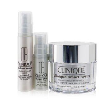 Skincare Specialists Clinique Smart Custom-Repair Set: Moisturizer SPF 15 50ml + Serum 10ml + Eye Treatment 5ml (3pcs)