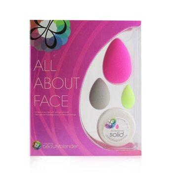 All About Face Beautyblender Set (Beautyblender + Beauty Blusher + Micro Mini BeautyBlender + Mini Blendercleanser Solid) (4pcs)