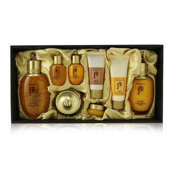 Gongjinhyang Essential Set: Balancer (150ml+20ml) + Emulsion (110ml + 20ml ) + Cream 30ml + Eye Cream 4ml + Cleanser 40ml + Mask 30ml (8pcs)
