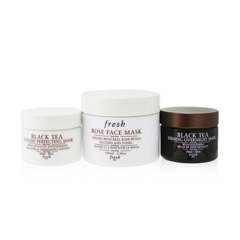 Face Mask Set: 1x Rose Face Mask - 100ml/3.3oz + 1x Black Tea Firming Overnight Mask - 30ml/1oz + 1x Black Tea Instant Perfecting Mask - 30ml/1oz (3pcs)