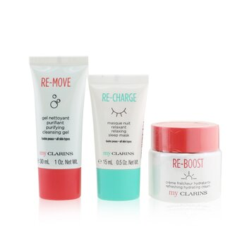 My Clarins The Essentials Set: Re-Boost Hydrating Cream 50ml+ Re-Move Cleansing Gel 30ml+ Re-Charge Sleep Mask 15ml (3pcs)