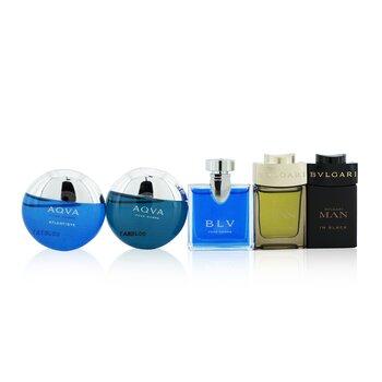 The Men's Gift Collection: Man In Black Eau De Parfum + Man Wood Essence Eau De Parfum + Aqva Eau De Toilette + Aqva Atlantique Eau De Toilette + Blv Eau De Toilette (5x5ml/0.17oz)