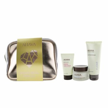 Everyday Mineral Essentials Set: Essential Day Moisturizer 50ml+ Purifying Mud Mask 100ml+ Mineral Hand Cream 40ml+ Bag (3pcs+1bag)