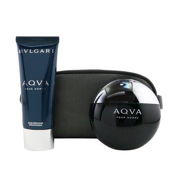 Aqva Pour Homme Coffret: Eau De Toilette Spray 100ml/3.4oz + After Shave Balm 100ml/3.4oz + Pouch (2pcs+Pouch)
