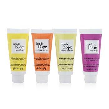 Hope For All Nurturing Hand & Nail Cream 4-Pieces Set: Lemon Custard 30ml + Sparkling Grapefruit 30ml + Green Tea & Avocado 30ml + Berry & Sage 30ml (4x30ml/1oz)