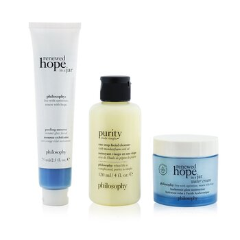 Smooth, Glowing & Hopeful 3-Pieces Set: Renewed Hope In A Jar Peeling Mousse 75ml +  One-Step Facial Cleanser 120ml + Renewed Hope In A Jar Hyaluronic Glow Moisturizer 60ml (3pcs)