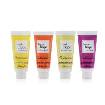 Hope For All Nurturing Hand & Nail Cream 4-Pieces Set: Lemon Custard 30ml + Sparkling Grapefruit 30ml + Green Tea & Avocado 30ml + Berry & Sage 30ml (Box Slightly Damaged) (4x30ml/1oz)