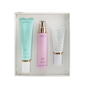 3 Step System - Dry Skin: Cream Cleanser 100ml + Balancing Rose Mist 100ml + Hydrating Moisturizer 50ml (3pcs)