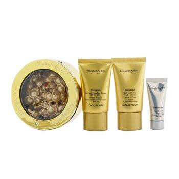 Ceramide Daily Youth Restoring Capsules Set: Capsules 60caps+ Day Cream SPF 30 15ml+ Night Cream 15ml+ Skin Renewal Booste... (4pcs)