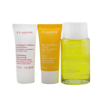 Tonic Collection: Tonic Body Treatment Oil 100ml+ Exfoliating Body Scrub 30ml+ Tonic Bath & Shower Concentrate 30ml+ Bag (3pcs+1bag)