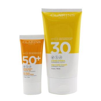 Golden Summer Sunday Gift Set: Sun Care Body Cream SPF 30 150ml+ Dry Touch Sun Care Cream For Face SPF 50 30ml (2pcs)