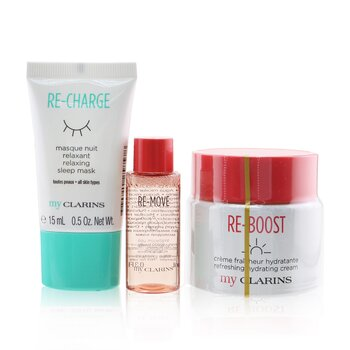 My Clarins Essentials Set: Re-Boost Hydrating Cream 50ml+ Re-Move Cleansing Water 10ml+ Re-Charge Sleep Mask 15ml (3pcs)