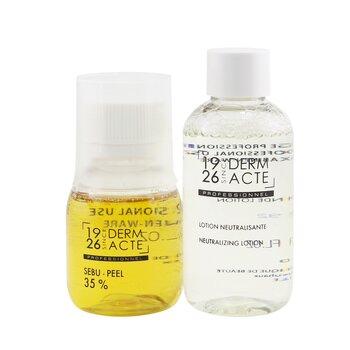 Sebu-Peel 35% Kit : 1x Sebu-Peel 35% 50ml/1.7oz, 1x Neutralizing Lotion 75ml/2.5oz, 1x Measuring Cup (Salon Product) (3pcs)